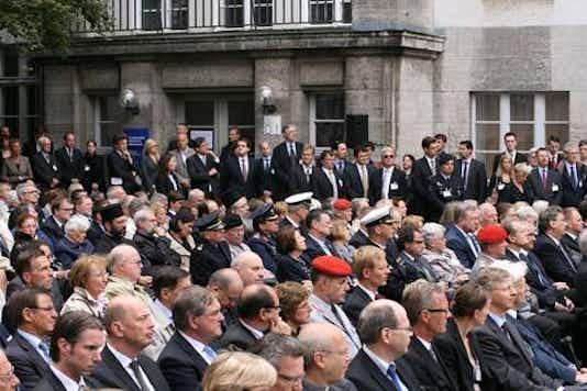 Gedenkfeier, Ehrenhof der Gedenkstätte Deutscher Widerstand in der Stauffenbergstraße, Berlin, 20.07.2012
